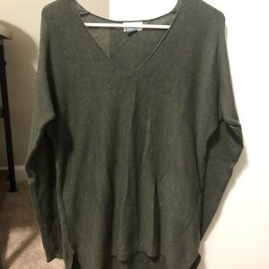 Green V-Neck Tunic Sweater